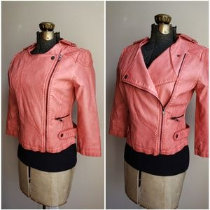 Bar lll Faux Leather Coral Moto Jacket